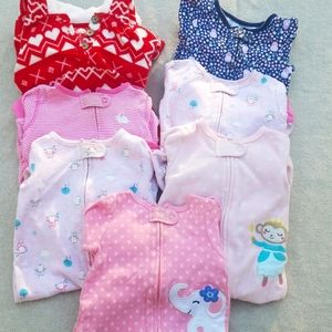 9 month lot of bodysuits/pajamas, includes 7